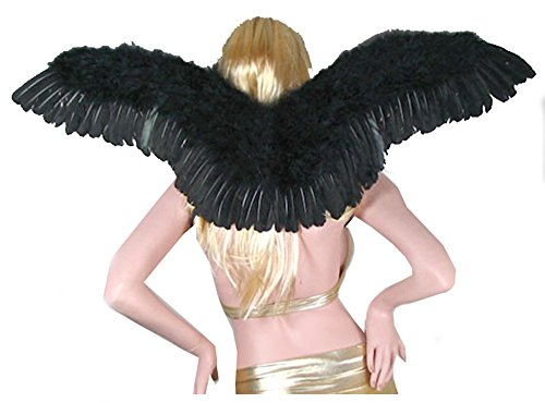 [SACASUSA (TM) Sexy Adult Feather Halloween Fairy Angel Wings in Black one size] (Sexy Fairy Halloween Costumes)