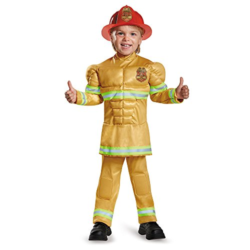 [Disguise 84019M Fireman Toddler Muscle Costume, Medium (3T-4T)] (Original Toddler Halloween Costumes)