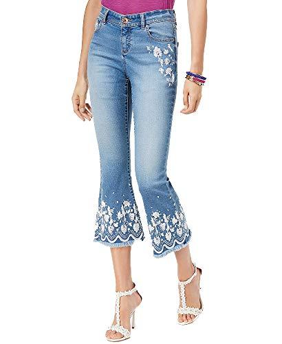 INC International Concepts I.N.C. Embroidered Flare-Leg Jeans (Medium Indigo, 14)