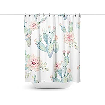 Shuangyi - Hand Drawn Watercolor Saguaro Cactus Seamless Pattern Shower Curtains,12 Curtain Hooks 72-Inch by 72-Inch