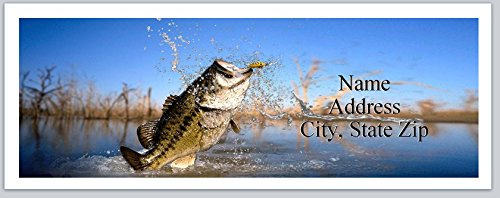 150 Personalized Address Labels Fishing Fish Bass Out of Water Trying to get to Lure (P 560)