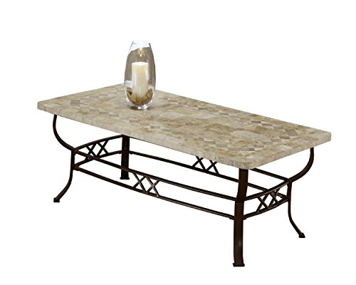 - Hillsdale 4815OTC Brookside Fossil Stone Coffee Table, Brown Powder coat