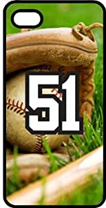 Baseball Sports Fan Player Number 51 Black Rubber Decorative iphone 5c Case