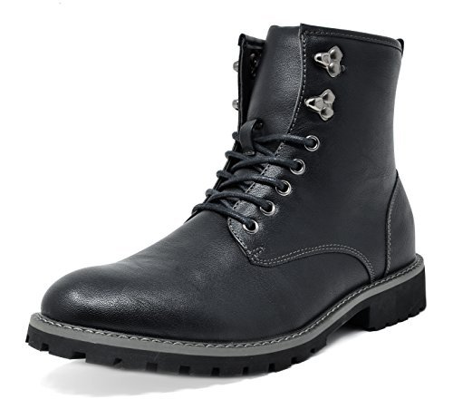 Bruno Marc Men's Motorcycle Boots Combat Dress Oxford Boots Black Stone-01 Size 10.5 M US (Boots Report Black Motorcycle)