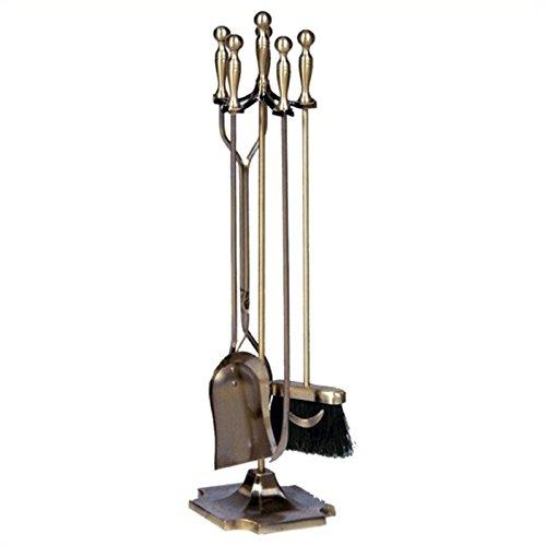- Pemberly Row 5 Piece Antique Brass Fireset