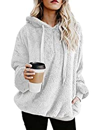 Womens Oversized Long Sleeve Loose Fuzzy Hoodie Pullover Outwear Sweatshirt with Pockets
