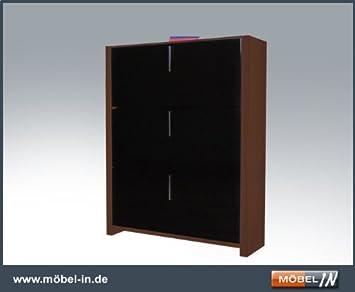 Schuhschrank Schrank Schuhregal Nussbaum / Schwarzbraun: Amazon.de ...
