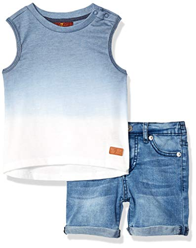 - 7 For All Mankind Kids Baby Boys Dipped Tank Top and Denim Short Set, Dress Blue Beach, 24M