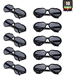 10 Packs Neon Colors Wholesale Heart Sunglasses (Black)