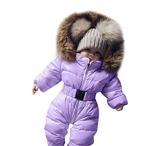 Yezijin Winter Infant Baby Boy Girl Romper Jacket Hooded Jumpsuit Warm Thick Coat Outfit for 0-24 Months (70(Age: 6-9 Monthes), Purple) ()
