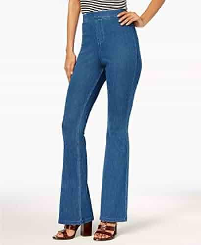 f548695864b HUE Women s High-Waisted Denim Flare Leggings Size XS