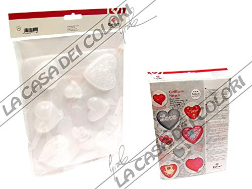 RAYHER 36017000 – Plaster Mould Hearts, 8 Motive, High 7 cm – 23.2 x 18.3 cm -