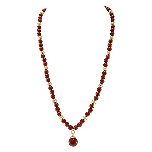 Beautiful Ocean Jasper Pendant - Pearlz Ocean Red Jasper Golden Beads and Hanging Pendant Strand Necklace Fashion Jewelry for Women