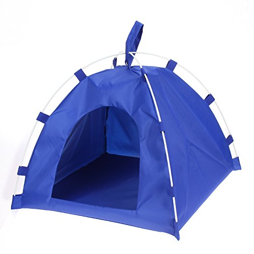 (ttnight Waterproof Oxford Pets Houses Tent Dog Cat Playing Bed Portable Folding Mat (Blue))