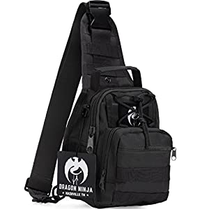 Sling Bag for Men and Women Dragon Ninja Best Tactical Backpack Military Sport Daypack for EDC Camping Hiking and Travel with FREE Velcro Patch (Black)