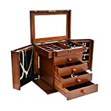 Caffny Large Wooden Jewelry Box , Built-in mirror and lock, double door drawer jewelry Storage Box 10.8L x 8.3W x 12H inch Brown