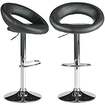 PARTYSAVING Modern Round Bar Stool PU Leather 360 Degree Swivel Height Adjustable Chairs Set of 2  sc 1 st  Amazon.com & Amazon.com: PARTYSAVING Modern Round Bar Stool PU Leather 360 ... islam-shia.org