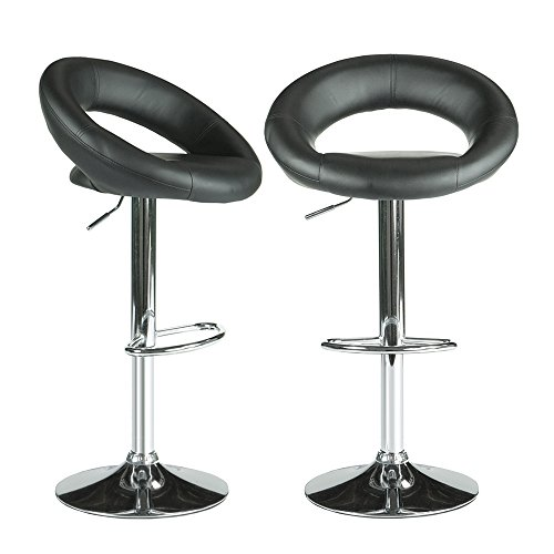 PARTYSAVING Modern Round Bar Stool PU Leather 360 Degree Swivel Height Adjustable Chairs Set of 2 APL1324, Jet Black