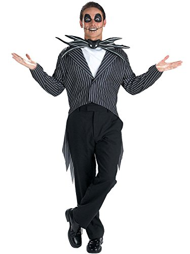 Classic Horror Halloween Costumes (Disguise Men's Tim Burton's The Nightmare Before Christmas Jack Skellington Classic Costume, Black/White,)