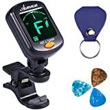 Asmuse Clip On Tuner Rotatable with Free PU Pick Holder and 3 Pcs Alice Guitar Picks for All Instruments with Guitar, Bass, Violin, Ukulele & Chromatic Tuning Modes Large LCD Display for Guitar Tuner