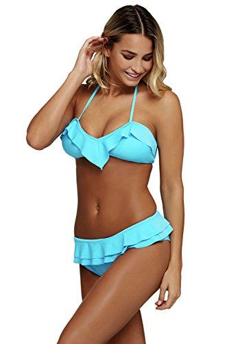 LittleLittleSky Womens Sexy Chic Ruffle Detail 2pcs Halter Bikini Swimwear Swimsuit ((US 8-10)M, Blue)