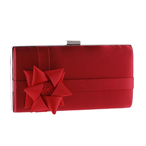 COCKTAIl FLORAL WEDDING 22x11 5x4cm Red PARTY CLUTCH PLACEMENT BAG HARDCASE rXSqA6X