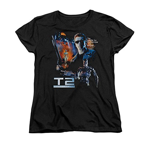 TERMINATOR 2/BATTLE-S/S WOMEN'S TEE-BLACK-MD