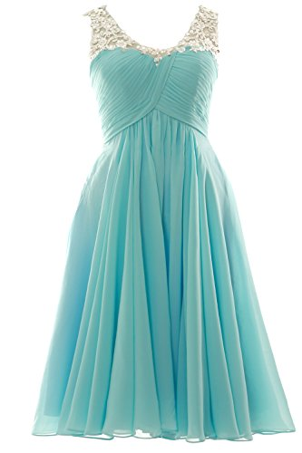 Dress Neck Prom Gown Gorgeous Wedding V Party Himmelblau MACloth Homecoming Formal Short qEgBvwY