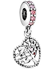 Pandora Moments 796592CZSMX Bedelhanger met roze stamboom, sterling zilver, kubische zirkonia, email