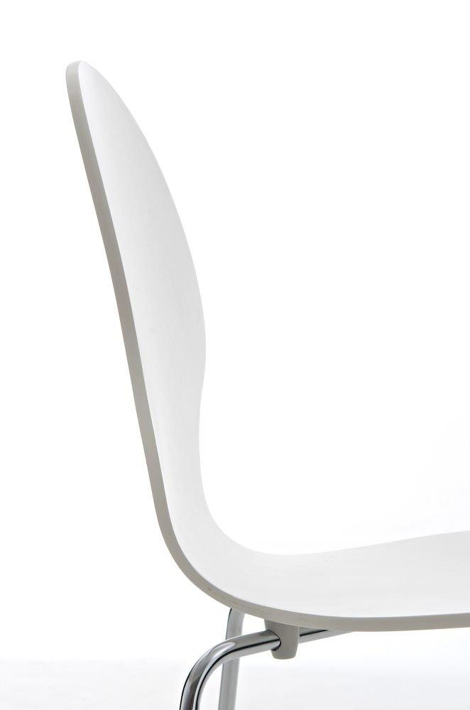 CLP Stapelstuhl Diego l Ergonomisch geformter Konferenzstuhl mit Holzsitz und Metallgestell I Stapelbarer Stuhl mit pflegeleichter Sitzfl/äche Orange