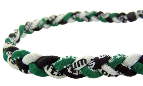 Titanium Tornado Sports Necklace Braided Three Rope Chain for Men Women Athlete (Black / Hunter Green / White)