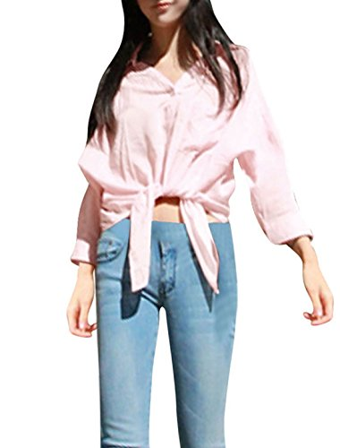 Ladies Point Collar Single Breasted Elbow Sleeve Chiffon Blouse