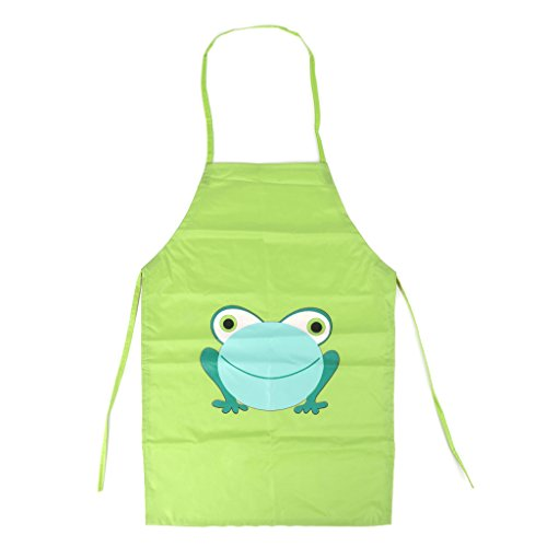 - Lamdoo Cute Kids Children Waterproof Apron Cartoon Frog Printed Painting Cooking Apron Green
