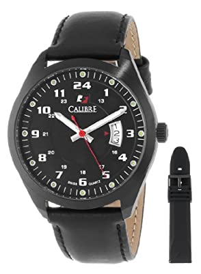 Calibre Men's SC-4T1-13-007SL Trooper Black Ion-Plated Coated Stainless Steel Interchangeable Black Rubber Leather Straps Watch Set by Calibre