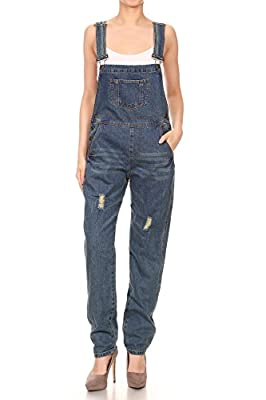 Anna-Kaci Womens Blue Denim Distressed Raw Scratch Style Tapered Leg Overalls