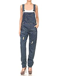 Womens Distressed Denim Overalls with Tapered Leg and Pockets