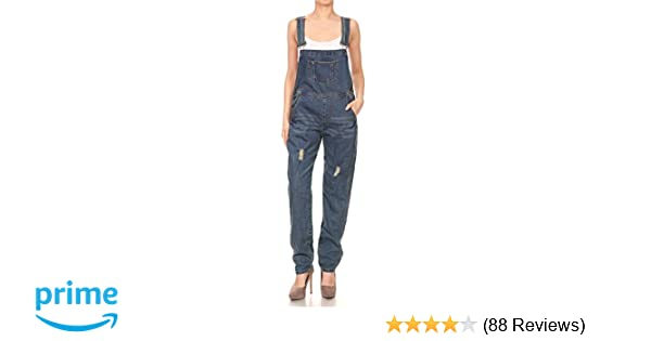 b2e54bc41164 Amazon.com  Anna-Kaci Womens Distressed Denim Overalls with Tapered Leg and  Pockets  Clothing