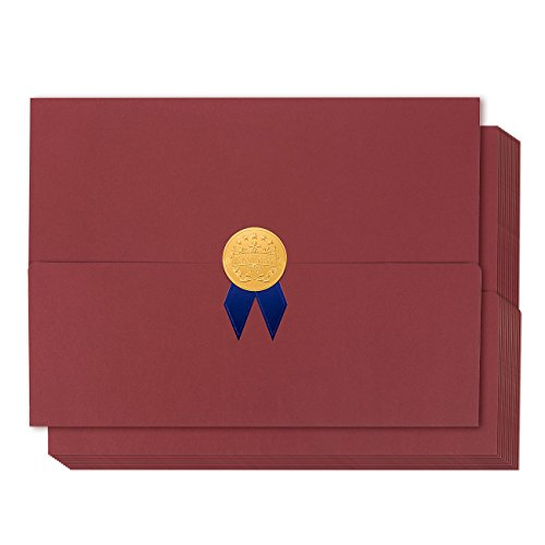 Holder Diploma Gold (12-Pack Certificate Cover - Diploma Cover, Document Cover for Letter-Sized Award Certificates, Red, Gold Foil, Blue Bow, 12.5 x 9.2 inches)