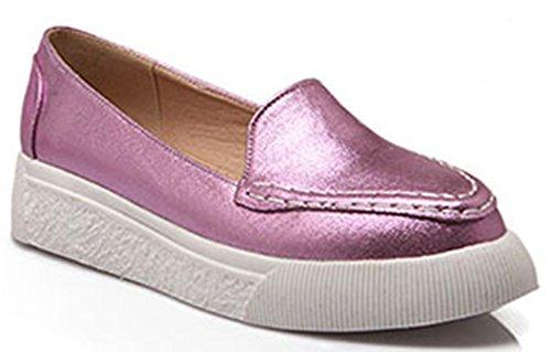 Gewatteerde Puntige Neus Van Idifu Vrouwen Slip Op Loafers Sneakers Lage Hakken Plateauzolen Roze