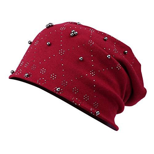 - LUXISDE Women Baggy Chic Point Argyle Rhinestone Knitted Beanie hat Skull Cap Red