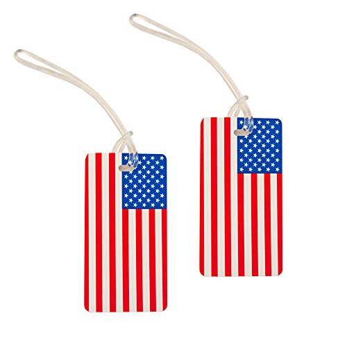 2 Pieces Set of Luggage ID Tags, US Suitcase Baggage Identifier (American Flag)