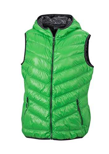 JAMES & NICHOLSON Ultra light down vest with hood in casual style Green/Carbon