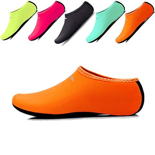 JIASUQI Unisex Sports Water Skin Shoes Aqua Sand Socks For Women and Men,Beach Swimming Yoga Exercise Orange US 11-13 Women,9-11 Men (Beach Men Wear For)
