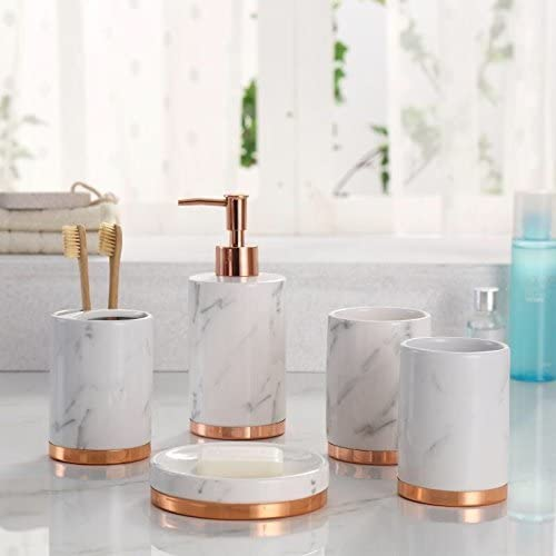 Amazon Com Marble Look With Rose Gold Trim 5 Piece Bathroom Accessory Set Home Kitchen