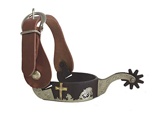 AJ Tack Wholesale Praying Cowboy Cross Western Show Spurs Harness Leather Straps Package Mens