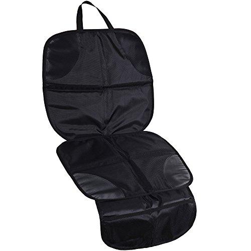 Anpro Autositz Schutzunterlage, Kindersitzunterlage mit Netztaschen, Beste Unterlage für Kinder- und Babyautositze, Hundedecke, Stoffpolsterung mit Leder, Schwarz