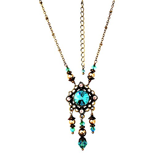 HisJewelsCreations Light Blue Rivoli Crystal Vintage Boho Pendant Simulated Pearl Jewelry Necklace 18+2