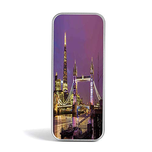 Tin Box,London,Perfect Holder for Pencils and Pens,Tower Bridge in London at Night Historical Cultur Monument Europe British Urban Decorative -