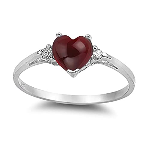 925 Sterling Silver Cabochon Natural Genuine Reddish Purple Garnet Heart Promise Ring Size 7 (Garnet Rings Clearance)