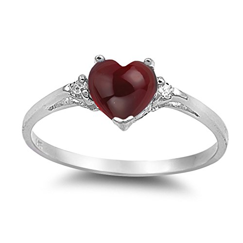 925 Sterling Silver Cabochon Natural Genuine Reddish Purple Garnet Heart Promise Ring Size 4 ()